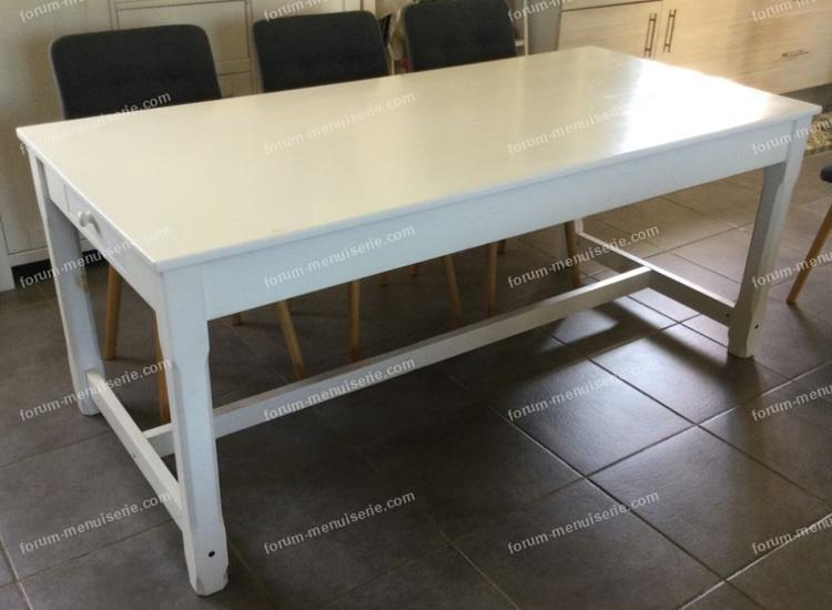 poncer table en pin peint en blanc