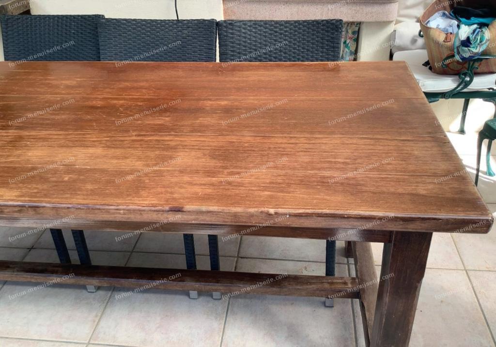 rénovation table bois massif et placage